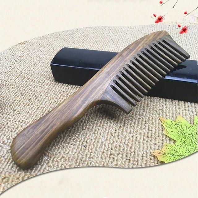 Pro ahşap tarak Kavisli Şekli Doğal Sandal Ağacı Tarak Sağlık Tarak, anti-statik Şeftali Ahşap Saç Tarak