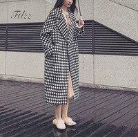 Black White Wool Coat New 2018 Autumn Women Casual Long Sleeve Turn Down Collar Long Woolen Overcoat Korean Ladies Vintage Coats