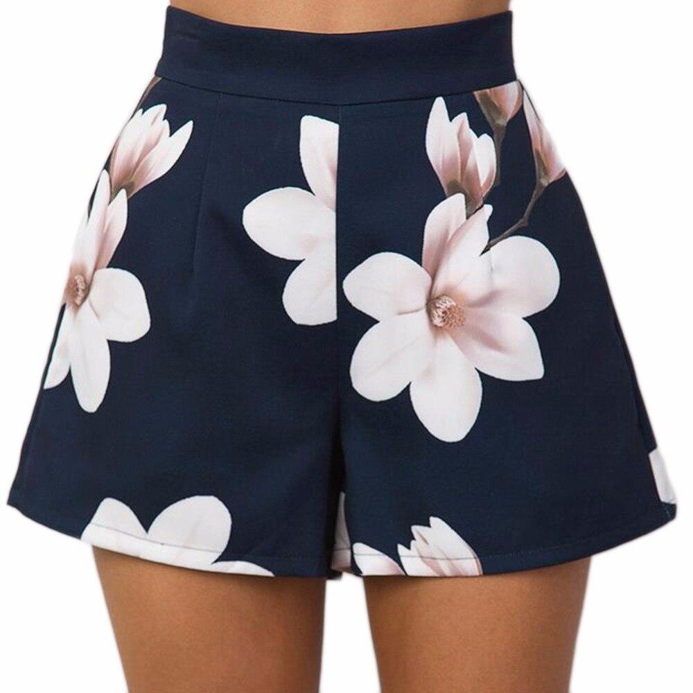 New Navy Blue Floral Print Women Summer High Waist Casual   Shorts   Pockets Zipper Back Ladies Beach Mini   Shorts