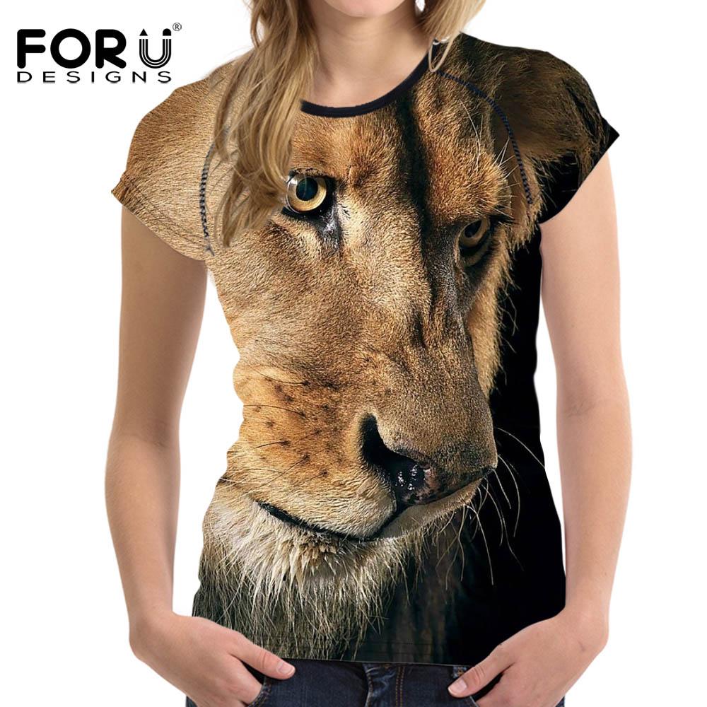 FORUDESIGNS Cool 3D Lion Animaux Femmes T