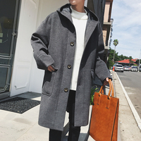 2017 New Fashion Trend Of Youth Small Fresh Autumn And Winter Hooded Big Pocket Casual Style Version Of Wild Wool Coat