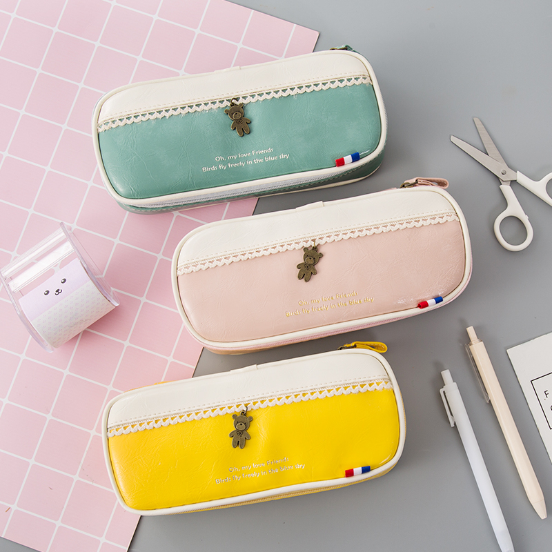Korean Waterproof Large Capacity Pencil Bag For School Double Layers Pencil Case Pen Holder Pouch Stationery School Supplies big capacity high quality canvas shark double layers pen pencil holder makeup case bag for school student with combination coded lock