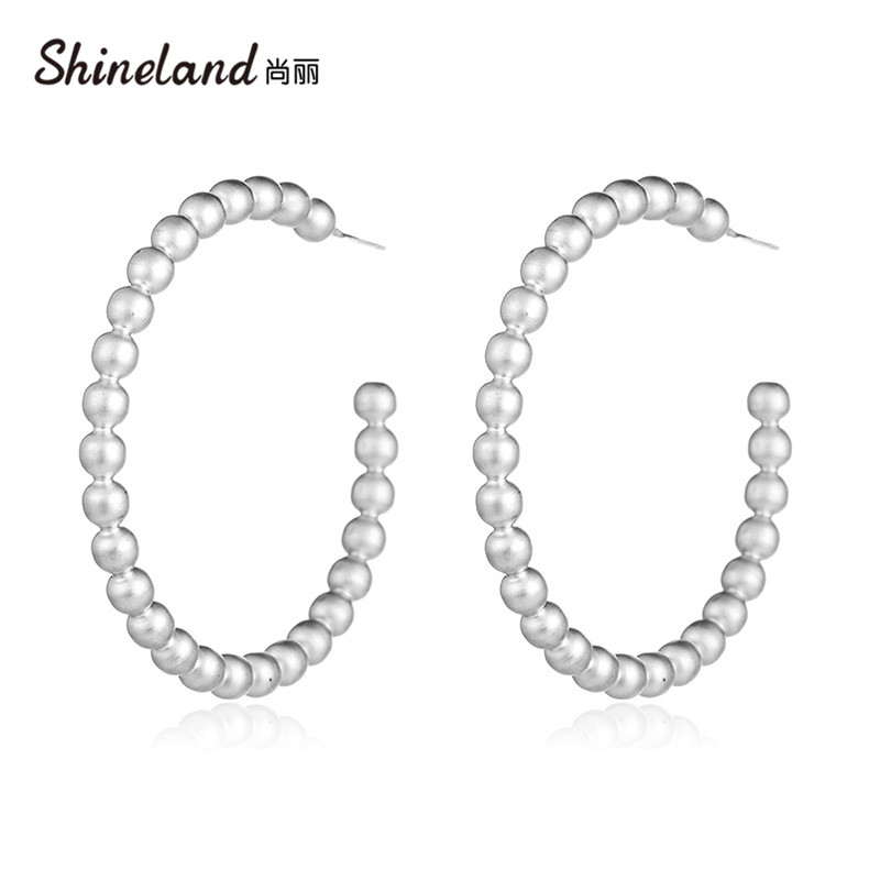 Shineland <font><b>3</b></font> Style Gold Silver Color <font><b>Hoop</b></font> <font><b>Earrings</b></font> For Women Fashion statement <font><b>Earrings</b></font> Jewelry Trendy Accessories image