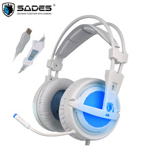 Fones de ouvido gamer usb 7.1 sades, com fio, controle de voz, para laptop e computador, com fio