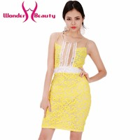 Wonder beauty Yellow lace patchwork women skin color transparent sexy casual work office dress Cute girl daily lace dress