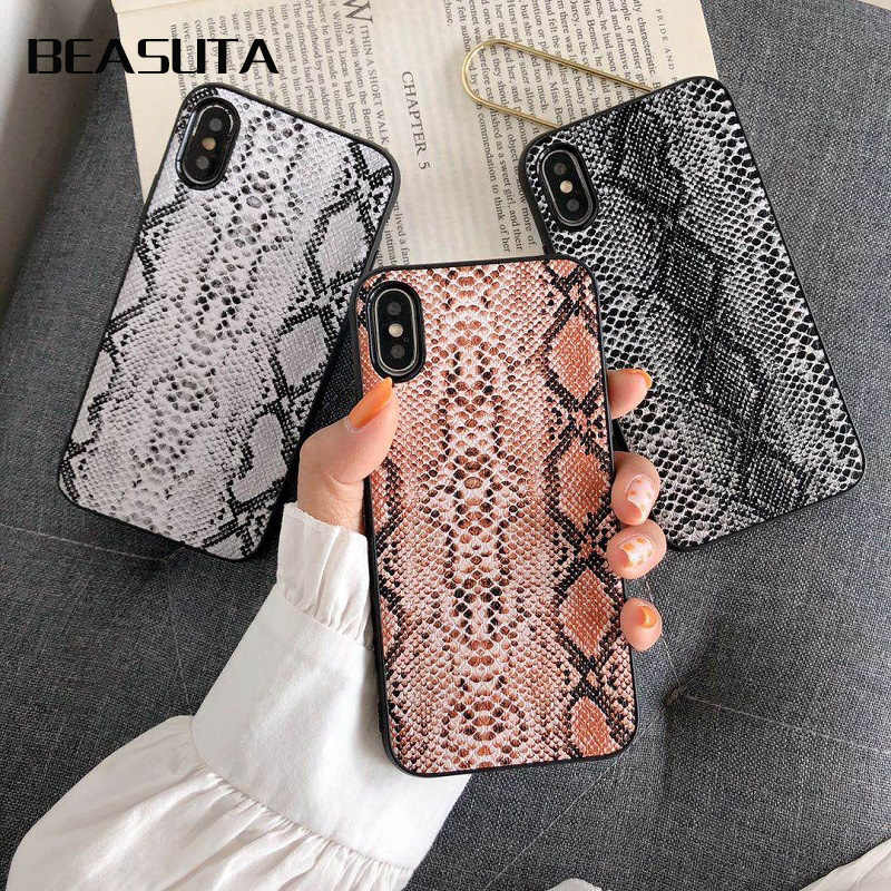 Funda Vintage de piel de serpiente para iphone XS Max mate para iphone XS MAX X XR XS 6 6 funda trasera s 7 8 plus