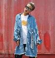 Señoras Frescas Street Wear Chaqueta de Jeans Con Estilo Punky de La Moda europea Vintage Ripped Denim Capa de la Chaqueta Suelta Outwear para Las Mujeres