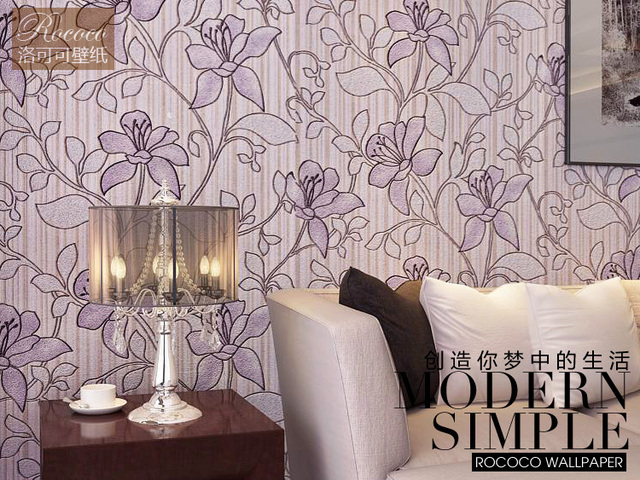 Dark Purple Colour Flower Pattern 3D Design Background Wallpaper Roll Living Room Used Modern Sophisticated