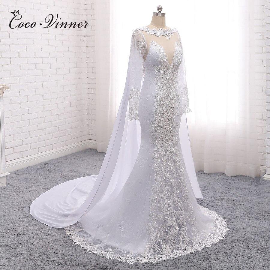 Long Sleeve Vintage V neck With Wrap Mermaid Wedding dress 2019 New Ivory Illusion Dubai Wedding Dresses Bridal Gown W0266