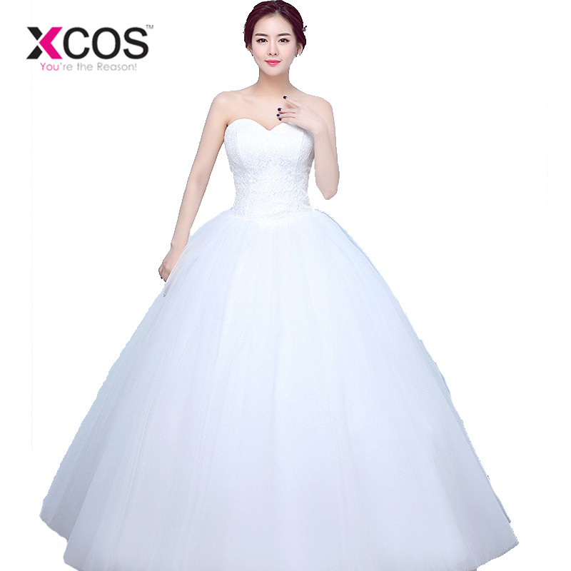XCOS Long Cheap Ball Gown Lace Wedding Dress 2018 White Tulle Sweetheart Vestido De Noiva Appliques Plus Size Bride dres