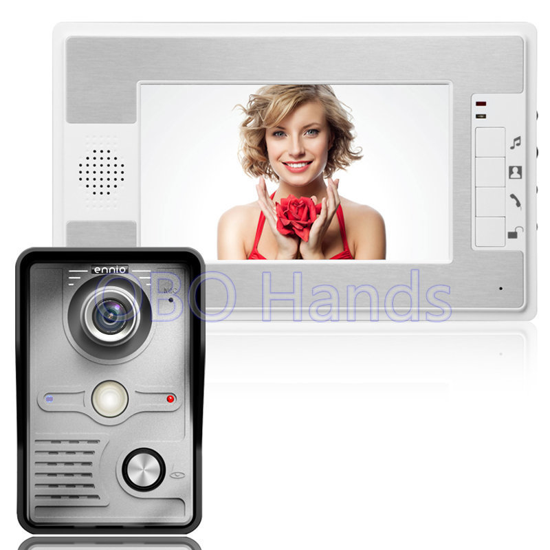 7'' TFT Color Video door phone Intercom Doorbell System Kit IR Camera Doorphone Monitor Speakerphone Intercom 1 camera+1 monitor