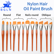 1Piece Super Quality Nylon Hair Oil Paint Brush Nails Round/Flat/Oblique Oil Painting Brush For Acrylic Painting Art Supplies