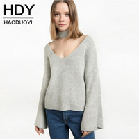 HDY Autumn Winter Sweater 2017 Women Halter Knitted Sweaters Sexy Pullover Women Tops Slim V Neck