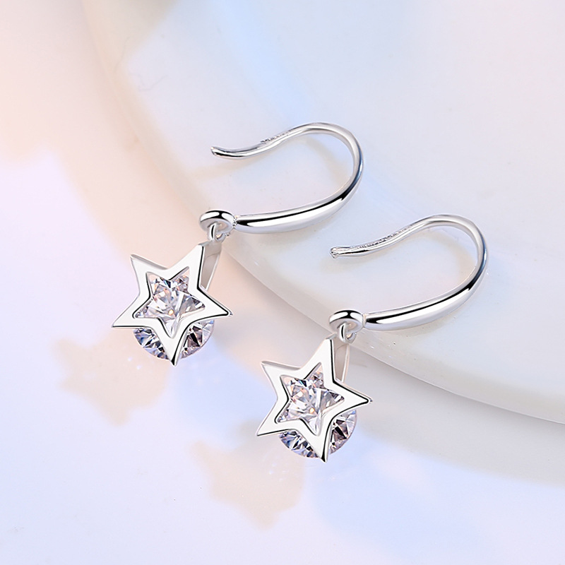 100 925 sterling silver fashion shiny crystal star ladies drop earrings jewelry wholesale Anti allergy female women gift in Drop Earrings from Jewelry Accessories