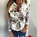 Fashion Women Baseball Jacket Coat Floral Printed Casual Zipper Slim Bomber Spring Autumn Outerwear femininas Hot Sale