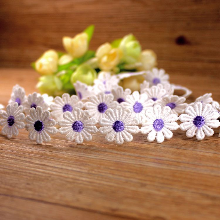 30yards 7colors  daisy lace trim  petals embroidery water soluble small flower for  decoration accessories30yards 7colors  daisy lace trim  petals embroidery water soluble small flower for  decoration accessories