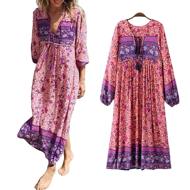 6ea0d578 Trendy Vintage 70s Hippie INDIA ETHNIC Dashiki Festival BOHO Floral Bib Floral  Print Dress for Women Ladies Clothes #278072