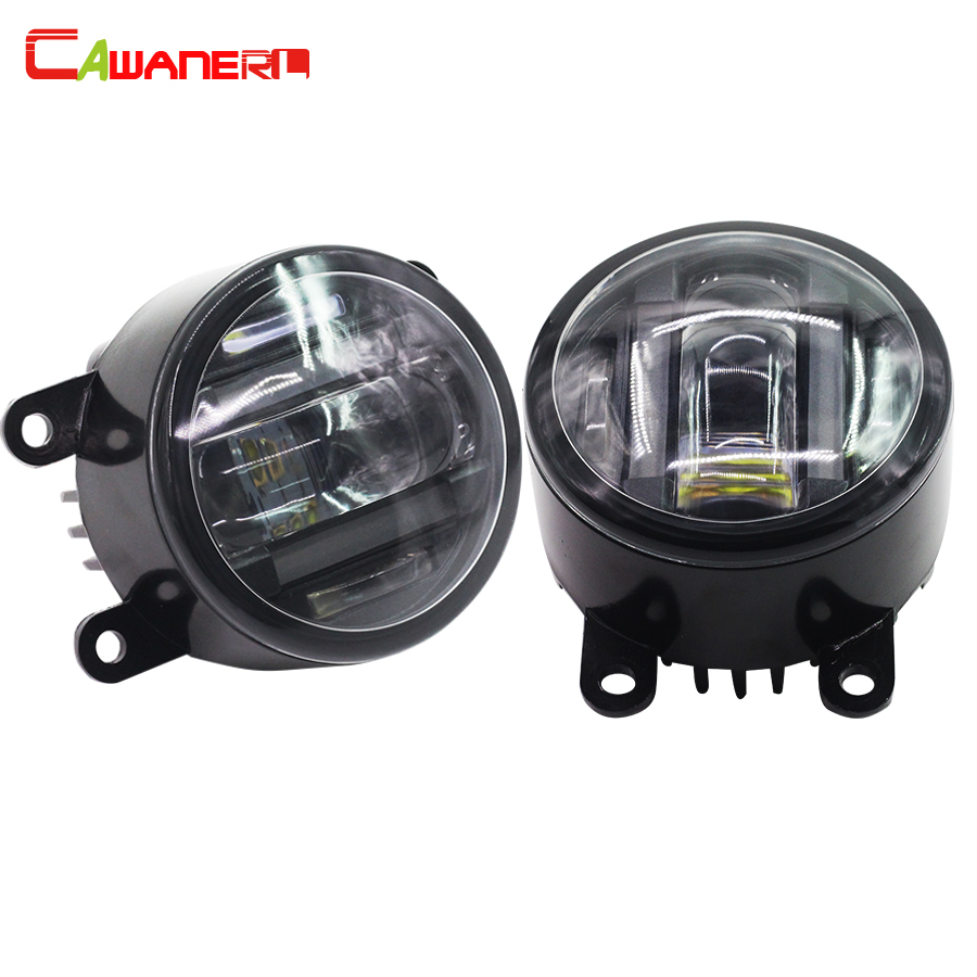 Cawanerl 2 Pieces Car Accessories Fog Light LED DRL Daytime Running Lamp High Power For Ford Fiesta C-Max cawanerl 80w h1 led bulb lamp 1800lm 16 smd white high power car light fog light daytime running lamp drl headlight low beam