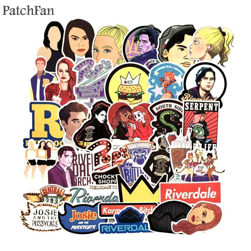Patchfan 35pcs Riverdale tv show fans Pvc waterproof stickers decals for DIY Laptop Skateboard Home wall sticker badges A1667