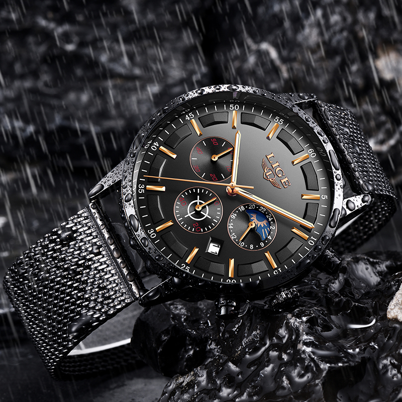 Image 4 - Relogio LIGE Mens Watches Top Brand Luxury Casual Quartz Wristwatch Men Fashion Stainless Steel Waterproof Sport Chronograph+Box-in Quartz Watches from Watches