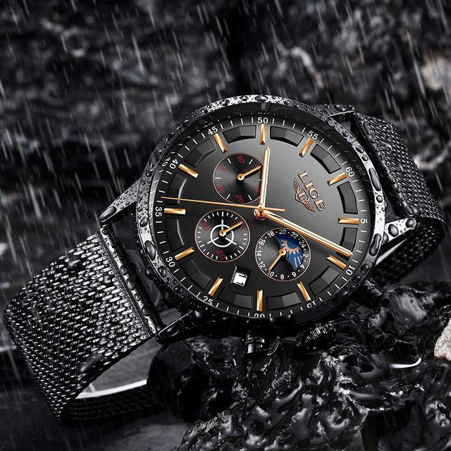 Relogio LIGE Mens Watches Top Brand Luxury Casual Quartz Wristwatch Men Fashion Stainless Steel Waterproof Sport Chronograph+Box