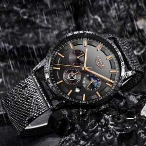 Image 4 - Relogio LIGE hommes montres haut de gamme de luxe décontracté Quartz montre bracelet hommes mode acier inoxydable étanche Sport chronographe + boîte