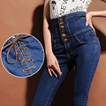 Women  Jeans 2015 New Fashion Skinny Pants Elastic Pencil Pants Buttons High Waist Jeans