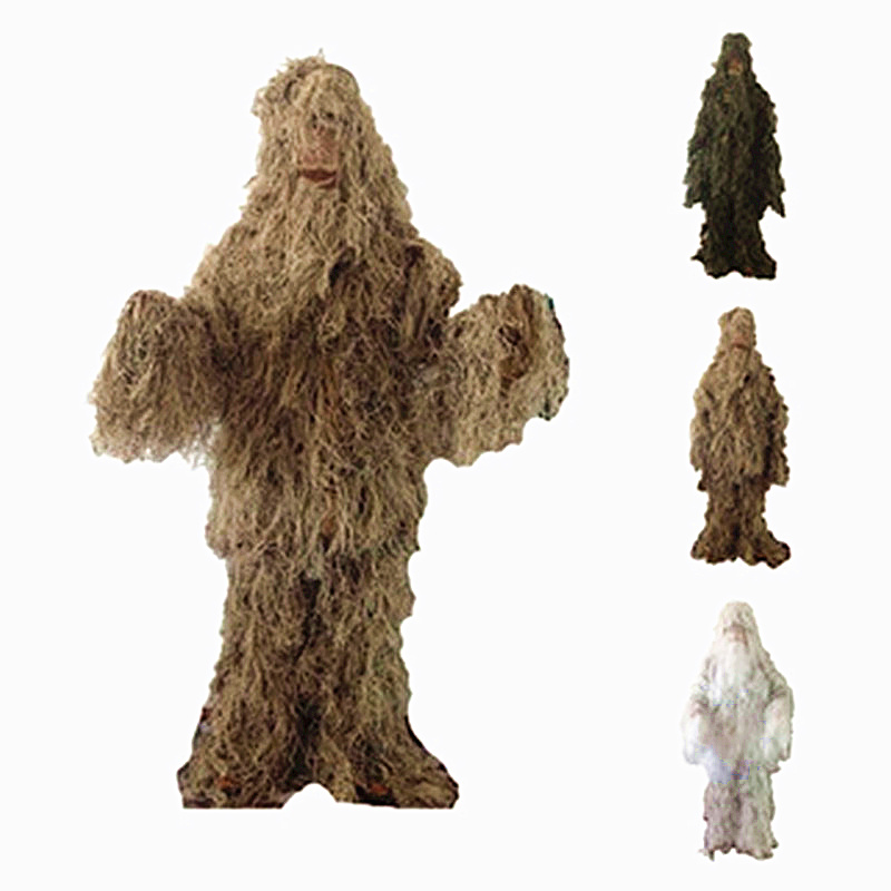 Hunting Camouflage Ghillie Suit Coat+Pants+Cap+Gun Rope 4 in 1 Tactical Ghillie Suit Hunting Accessories Shade Clothing for Hunt all seasons tactical camouflage clothing ghillie suit outdoor sports cotton hunting clothes shirt pants cap for fishing camping