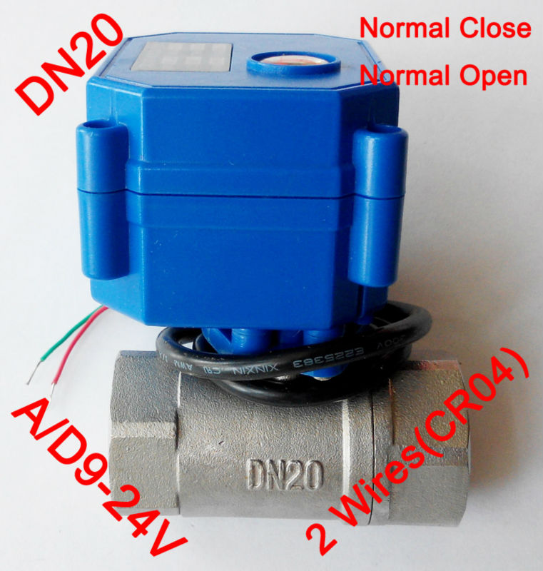 3/4 Mini electric ball valve 2 wires(CR04), AC/DC9-24V motorized valve SS304, DN20 electric actuator valve Normal close /open 1 2 mini electric actuator valve 2 wires cr01 dc12v motorized ball valve ss304 dn15 electric valve for water control