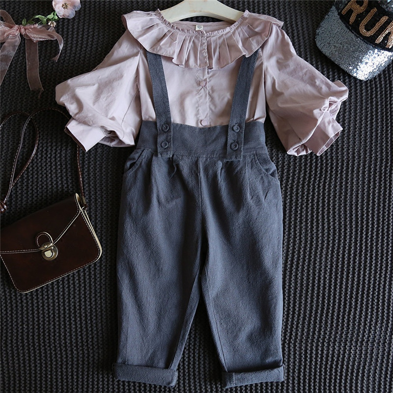 2017 New Autumn Baby Girls Clothes Set Toddler Girl Clothing Set Long Sleeve T shirt + Overalls Kids Girl Clothes Autumn 2pcs children outfit clothes kids baby girl off shoulder cotton ruffled sleeve tops striped t shirt blue denim jeans sunsuit set