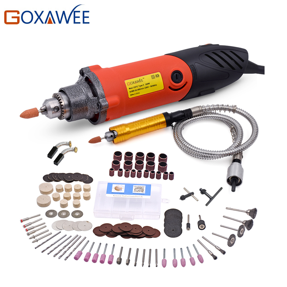 GOXAWEE 240W Mini Electric Drill for Dremel Style Power Tools Die Grinder With Flexible Shaft Abrasive