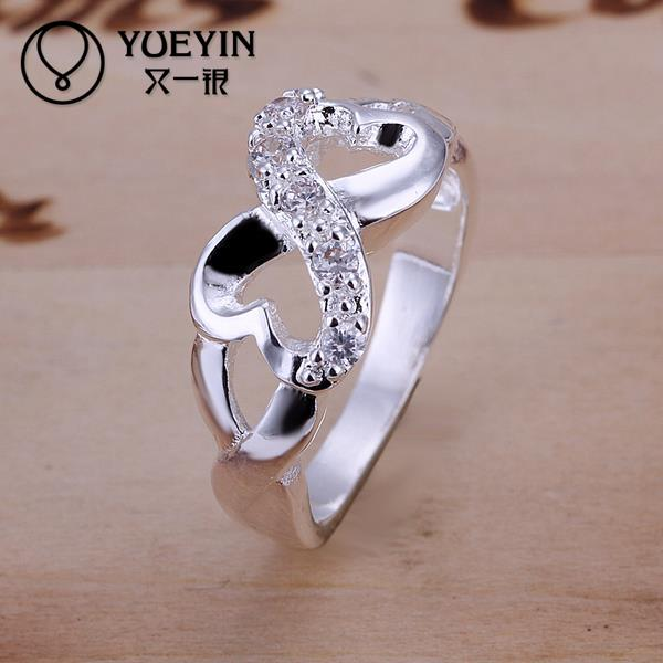 R049 Inlay Stone 8 shape Ring Silver plated fashion jewelry Butterfly Knot zircon ring wholesale mariposa en plata anillo