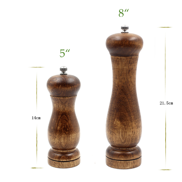 4 pieces 5 and 8 inch wooden oak pepper salt mills