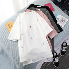 2019 Summer New Womens T-shirt Korean Fashion Casual Cartoon Embroidery Loose Female White Top  O-Neck Cotton Couple Clothes
