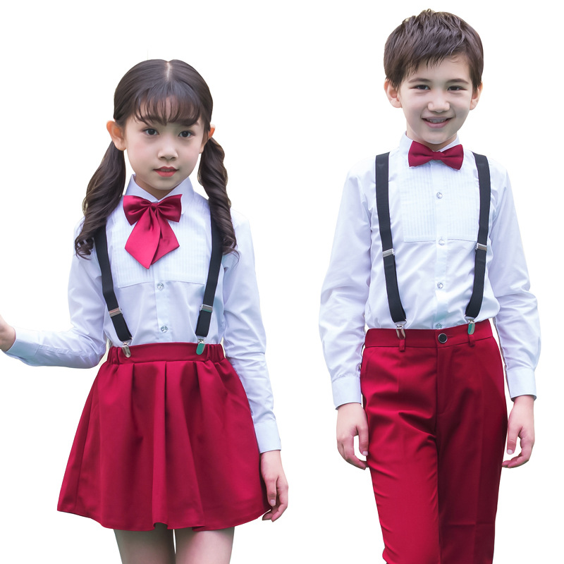 Kids Formal Wedding Party Performing Suit Girls Boys School Uniforms Shirt + Pants Tutu Skirt + BowTie Set Birthday Costume F70 цена