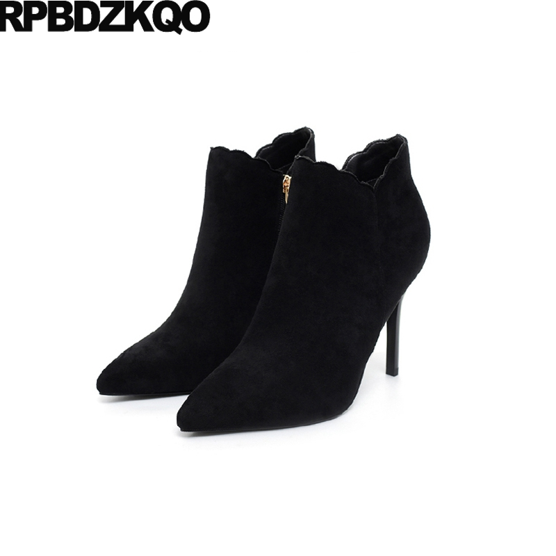 Women Stiletto High Heel Pointed Toe Winter Sexy Black Booties Waterproof Side Zip Boots Shoes Fur Short British Ankle Fashion купить дешево онлайн