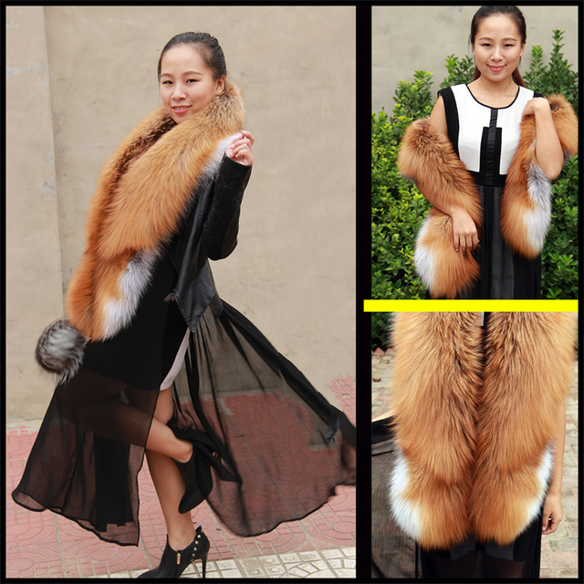 2016 Brand Besty Women Long Real Natural Red Fox Fur Scarf Genuine Luxury Soft Red Fox Hair Scaves Shawls