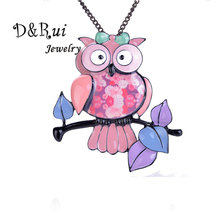 Pink Owl Pendant Statement Necklace Birthday Gift for Girls Enamel Animal Leaf Necklaces Jewelry Gifts Wholesale 2019 New