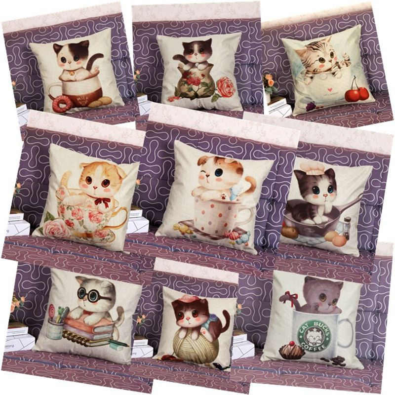 New Cushion Cover Cute Cat Pillow Pads Geometric Pillow Cove Home Car Sofa Decoration Gift