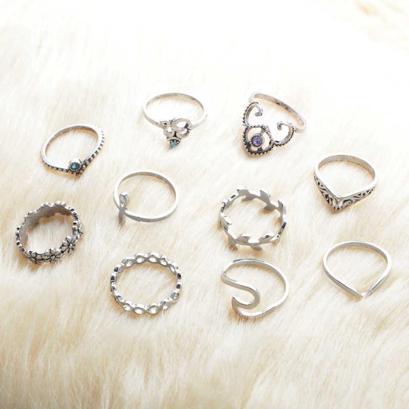 10 PCS Anéis Definir Meados de Strass Pedra Boho Boêmio Knuckle Anéis Masculino Mujer para As Mulheres Menina Moda Praia Jóias