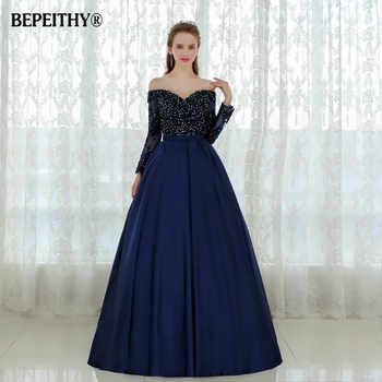 Graceful Long Sleeves Evening Dress Vestido De Festa Longo Beaded Ball Gown Lace Prom Dresses 2019 Robe De Soiree - DISCOUNT ITEM  48% OFF All Category