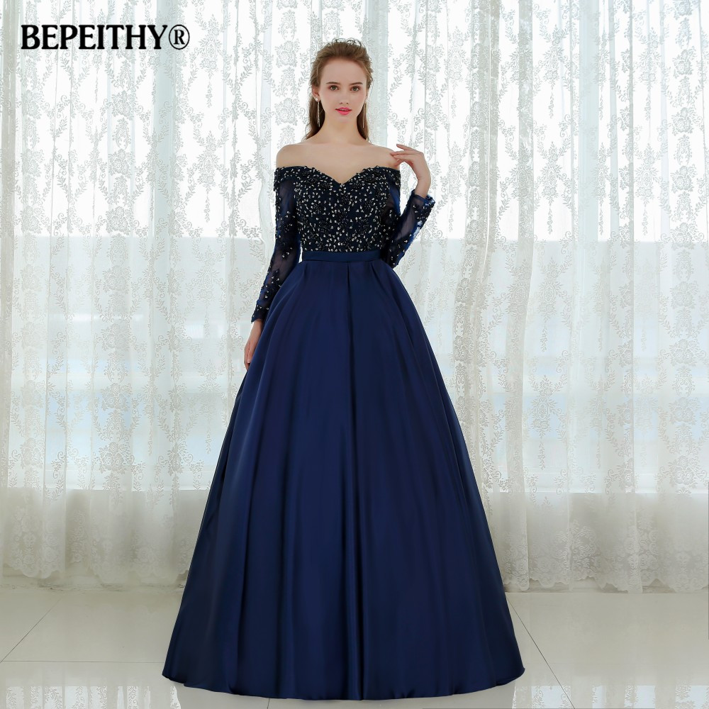 Graceful Long Sleeves Evening Dress Vestido De Festa Longo Beaded Ball Gown Lace Prom Dresses 2020 Robe De Soiree