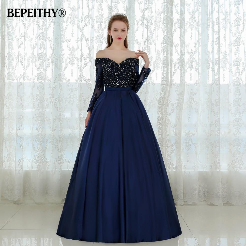 Graceful Long Sleeves Evening Dress Vestido De Festa Longo Beaded Ball Gown Lace Prom Dresses 2020 Robe De Soiree