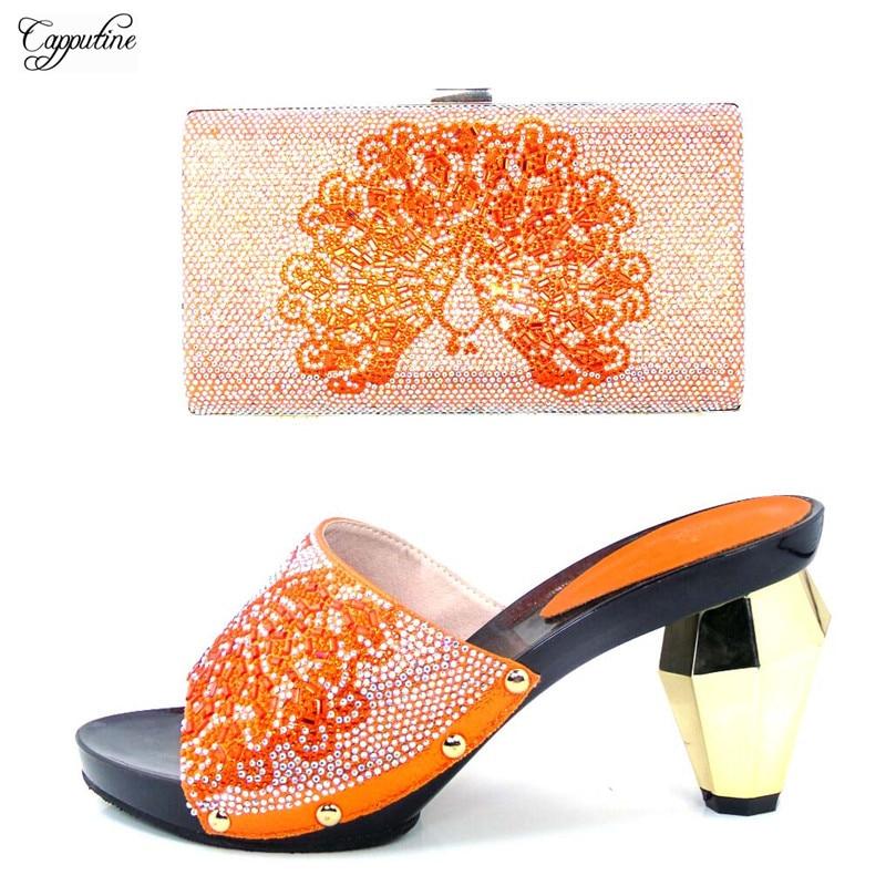 Последние specail высокий каблук без шнуровки сандалии и вечерняя сумочка набор для свадьбы/вечерние tys17-31 Orange, высота каблука 9 см