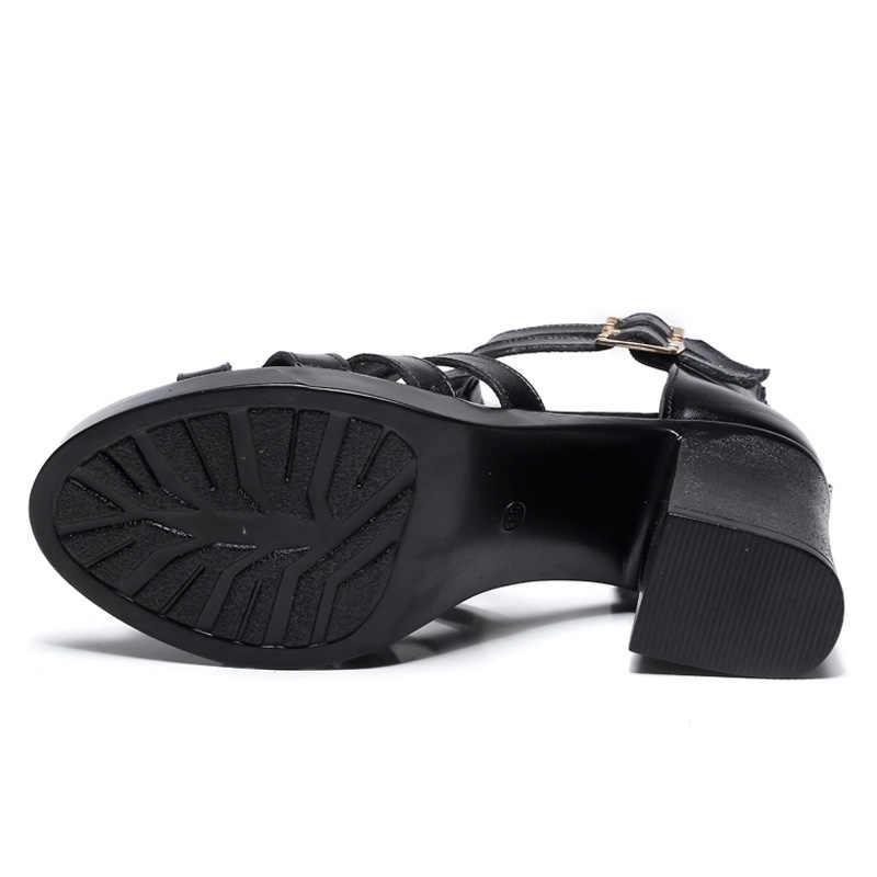DRKANOL 2020 In Pelle di Mucca Sandali Delle Donne Nero Sexy Tacco Alto Sandali Gladiatore Cut-outs Peep Toe Fibbia Donne di Estate casual Scarpe
