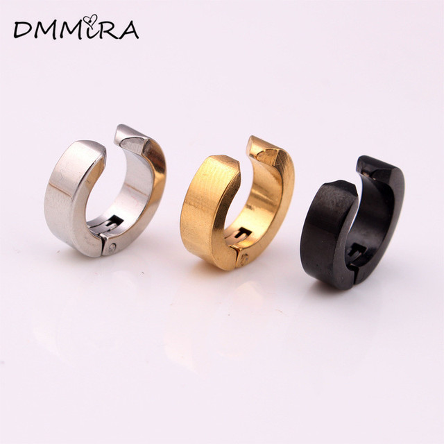 Punk Men Small Hoop Earrings Silver Gold Black Stainless Steel Fake Non Piercing Huggie