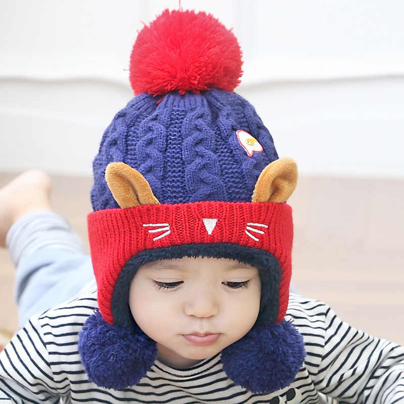 a72b02112 Cute Baby Winter Hat Warm Infant Beanie Cap For Children Boys Girls Animal  Cat Ear Kids Crochet Knitted Hat