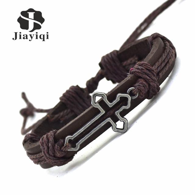 New Genuine Leather Bracelet for Women Mens Bracelets Hollow Cross Charm Cuff Bracelets Bangles Men Jewelry