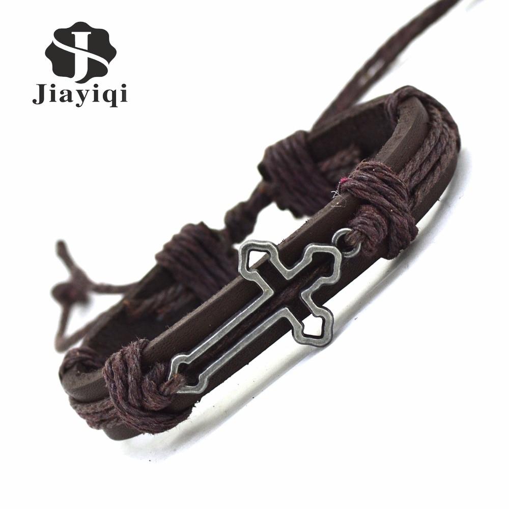 Jiayiqi New Genuine Leather Bracelet For Women Mens Bracelets Hollow Cross  Charm Cuff Bracelets Bangles Men