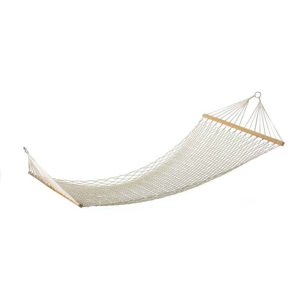 GSFY-White Outdoor Mesh Cotton Rope Swing Hammock Hanging On The Porch Or On A Beach